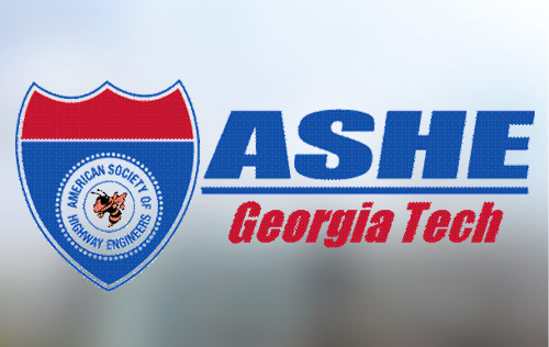 ASHE Georgia Tech logo with red and blue highway sign