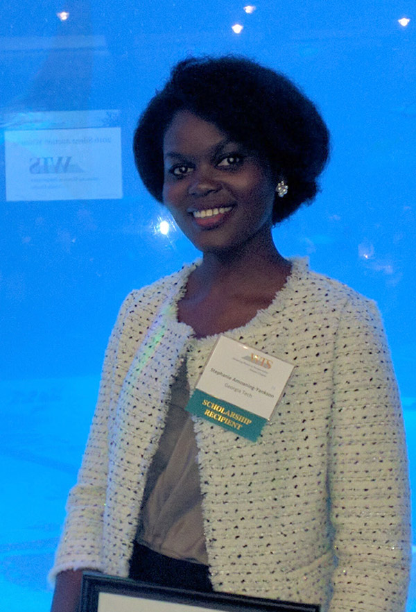 Ph.D. student Stephanie Amoaning-Yankson at the WTS Atlanta meeting where she received the Diane Woodend Jones Leadership Legacy Scholarship.