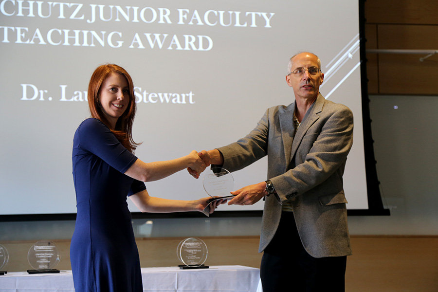 Lauren Stewart receives her award from Ted Russell