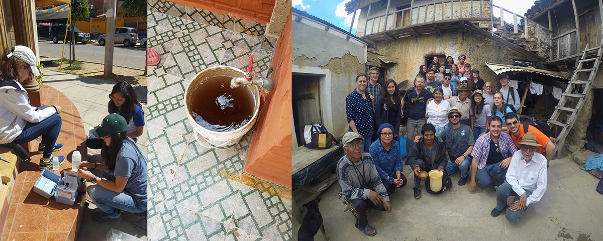 Left: Rhiannon Flanagan-Rosario, left, and Rebecca Yoo, front, of Georgia Tech, and Damaris Rios of the Catholic University of Bolivia, work outside one of the 80 households the team tested. (Photo: Riley Poynter) Center: An example of stored tap water at a home (Photo: Osvaldo Broesicke). Right: A local family welcomes the student researchers to their home, where they prepared a small thank-you meal for their guests. (Photo: Rachel Brashear)