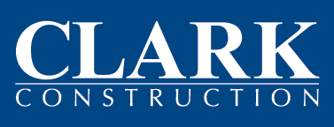 Clark Construction logo on blue rectangle
