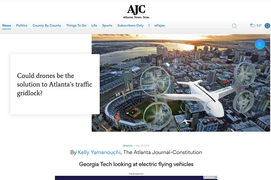 "Screenshot of Atlanta Journal-Constitution story ""Could drones be the solution to Atlanta's traffic gridlock?"" including a rendering of a city with a four-propeller Uber Eats drone flying above."