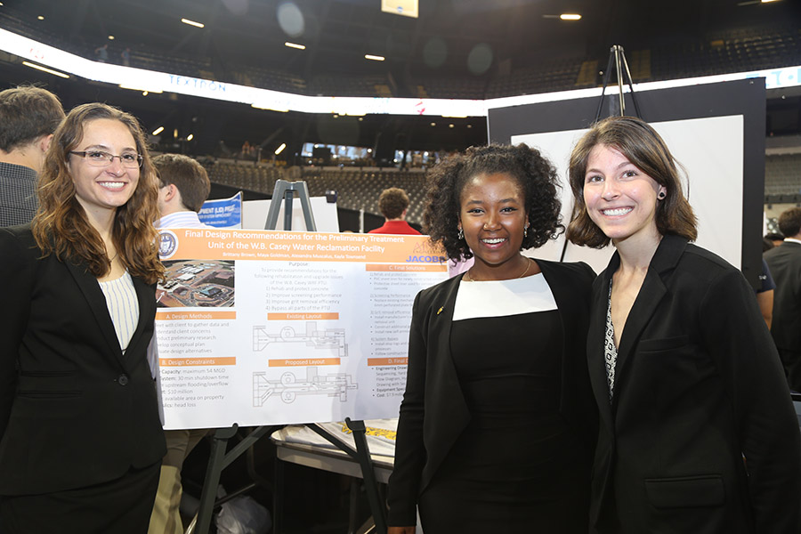 Capstone Design team Aina Engineering: Alexandra Muscalus, Kayla Townsend and Maya Goldman. (Photo: Jess Hunt-Ralston)