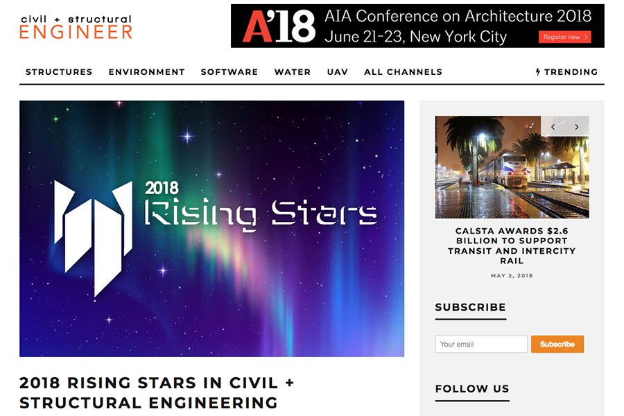 Screenshot of Civil + Structural Engineer magazine's 2018 Rising Stars web page.