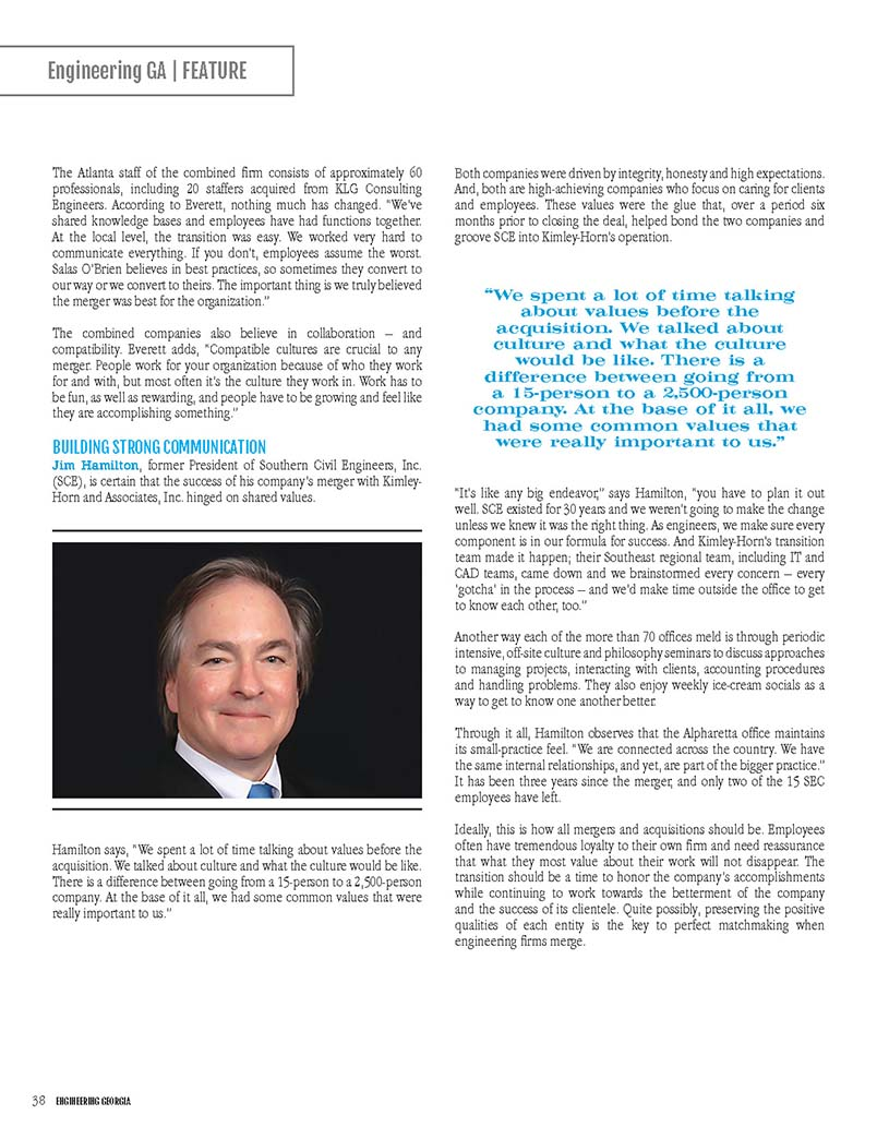 Engineering Georgia magazine feature story on mergers and acquisitions.