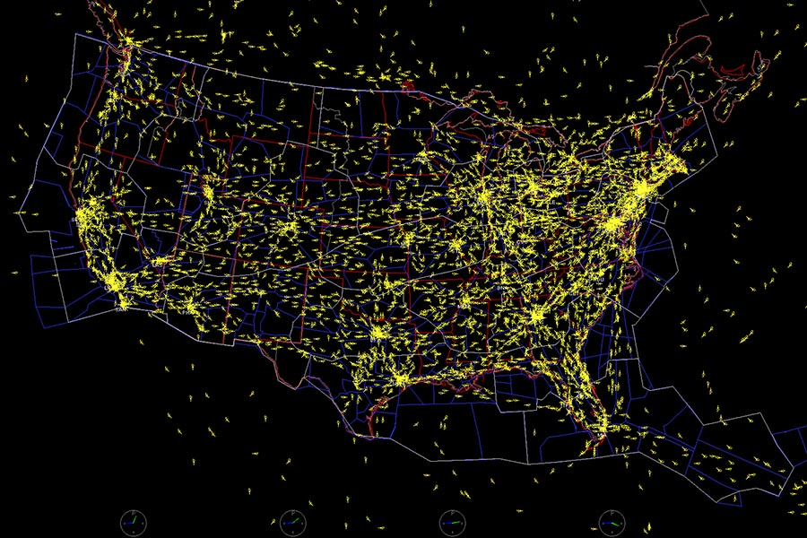 This image from software developed by NASA shows air traffic across the United States. Assistant Professor Sam Coogan has received funding from the U.S. Air Force to use new techniques to understand and manage how physical networks with interconnected components function. His work applies to all kinds of systems, like roads, airspace, water systems and factories. (Image Courtesy: NASA)