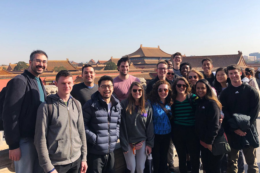 The 2019 International Disaster Reconnaissance class at the Forbidden City in Beijing, China. Students in the course spent Spring Break traveling across that country and Japan to learn about disaster recovery and reconstruction, visiting sites of earthquakes and tsunamis. They also visited the Great Wall of China, an ancient irrigation system in Dujiangyan City, and a Giant Panda Sanctuary in China and the Hiroshima Atomic Bomb Peace Memorial and the Fukishima Nuclear Power Plant cleanup efforts in Japan. (Photo Courtesy: Lynnae Luettich and Katie Popp)