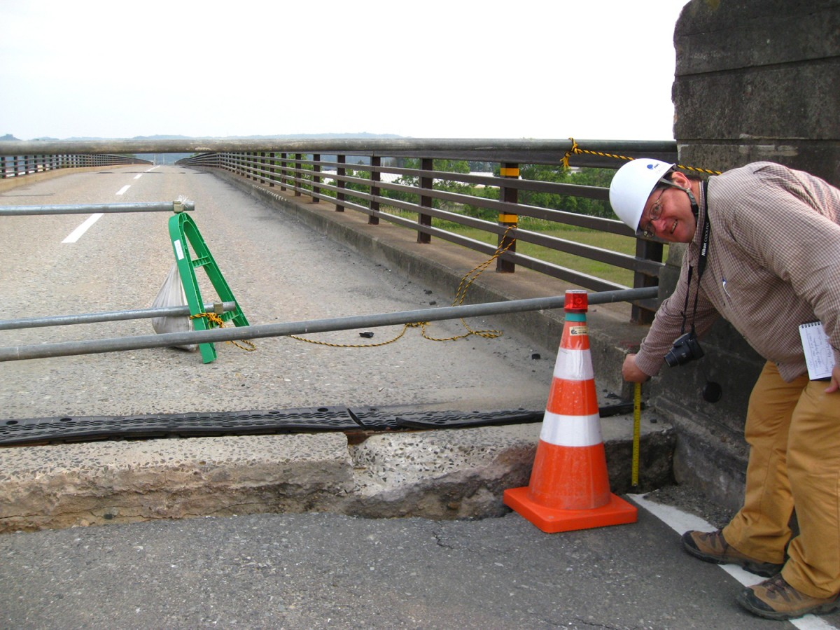 Professor David Frost measures the displacement of this bridge in Japan after the Tohoku earthquake and tsunami in 2011. Frost has been appointed the Elizabeth and Bill Higginbotham Professor in the School of Civil and Environmental Engineering.
