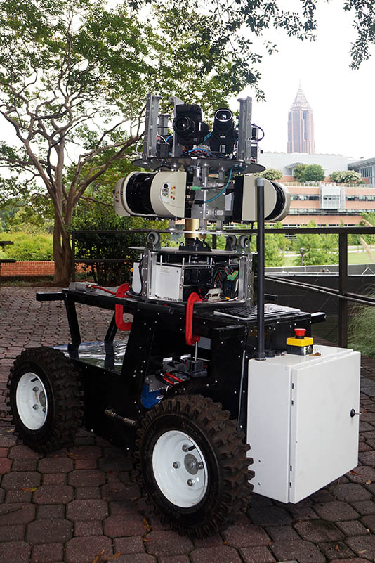 This mobile robot autonomously gathers as-built information for construction sites or existing buildings. Equipped with a laser scanner and thermal inspection system, the robot can generate a real-time 3-D point cloud map with thermal and RGB data of the job site. It's one of two robots involved in Yong Cho's new project equipping robots to work in nuclear power plants after disasters. (Photo: Yong Cho)