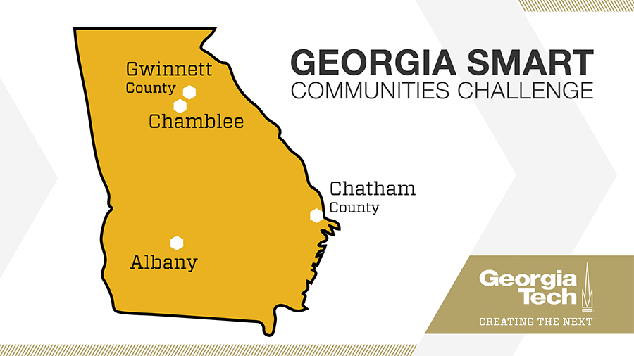 Georgia Smart Communities Challenge graphic with the state of Georgia and the four winning communities, Albany, Chamblee, Chatham County and Gwinnett County.