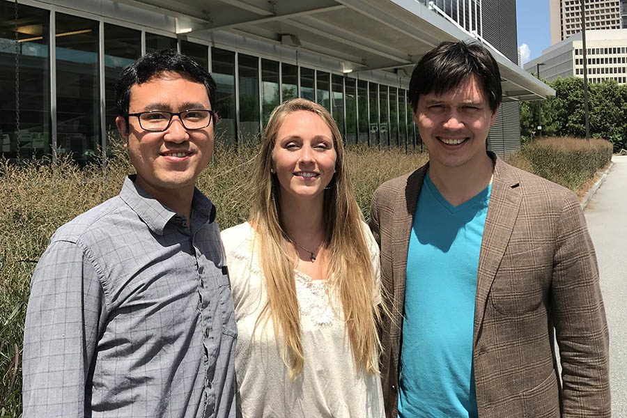 Environmental engineering senior Megan Haynes, center, with her mechanical engineering collaborators Andrey Gunawan, left, and Shannon Yee. Haynes has been doing research on desalination that recently won her second place in an American Society of Mechanical Engineers paper competition. (Photo Courtesy: Megan Haynes)