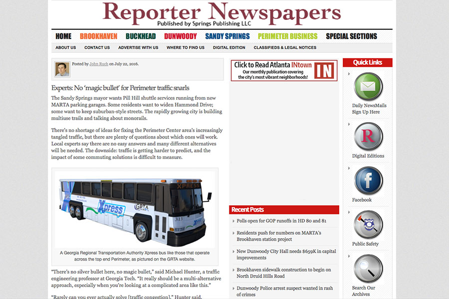 Screen shot of Perimeter Center traffic solutions story featuring Michael Hunter.