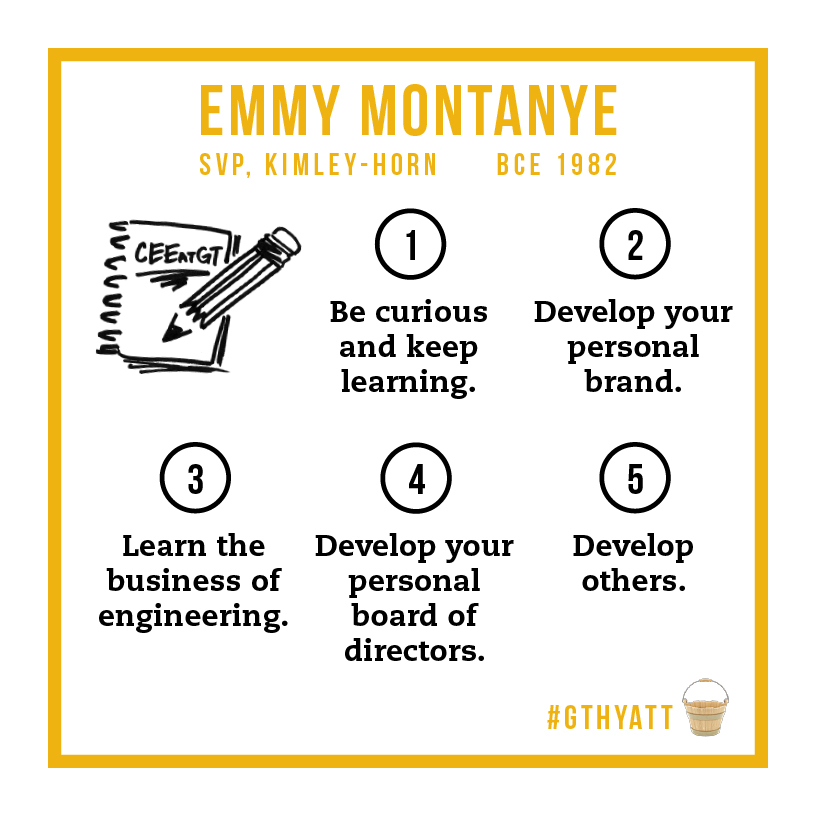 Emmy Montanye's five buckets: 1. Be curious and keep learning. 2. Develop your personal brand. 3. Learn the business of engineering. 4. Develop your personal board of directors. 5. Develop others.