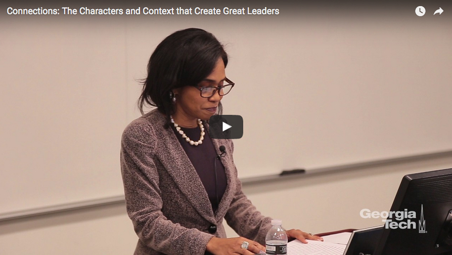 "Screen capture from Suzanne Shank's Hyatt lecture, ""Connections: The Characters and Context that Create Great Leaders"