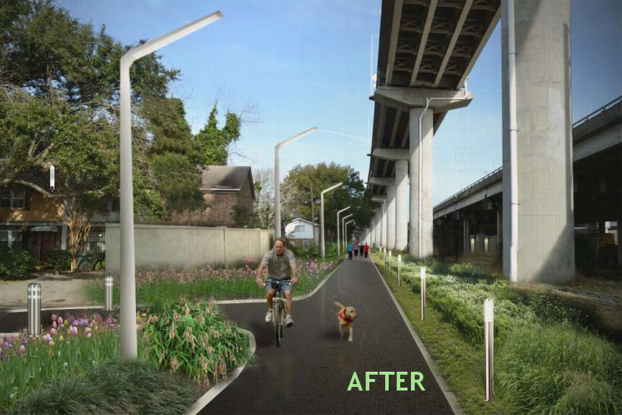 A group of Georgia Tech students are helping take the first steps toward a project that would turn an abandoned rail line in Charleston into a 6.5-mile linear park. The image on the left shows one section of the rail today near Grove Street. The rendering on the right envisions how the area would look with the new Charleston Lowcountry Lowline. The student teams are doing early conceptual and storm water management work as part of their senior design projects. (Photos: Friends of the Lowcountry Lowline)