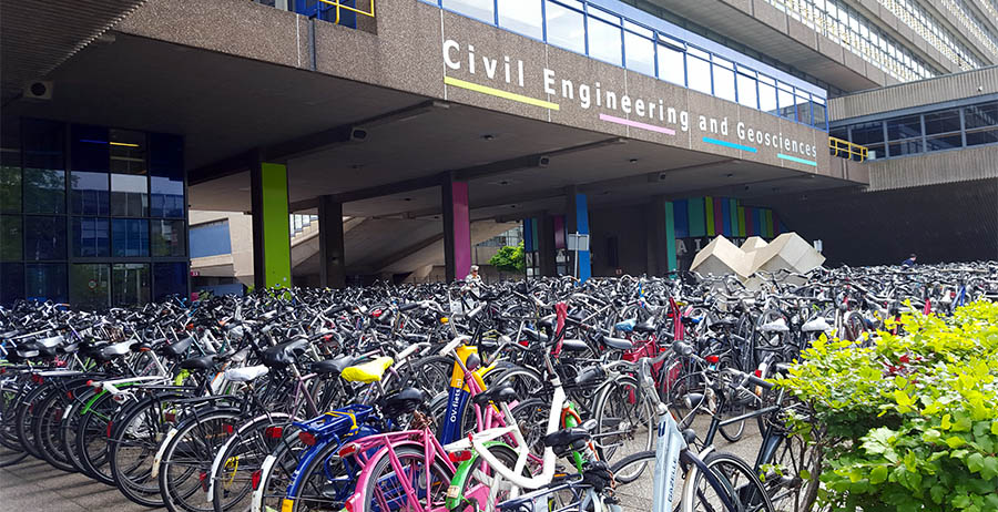 Bicycle parking outside the civil engineering and geosciences building at the Delft University of Technology.