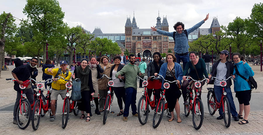 The Sustainable Transportation Abroad class spent nearly two weeks traveling throughout the Netherlands — mostly by bicycle — studying the country's transportation systems, including how infrastructure is designed to give cyclists priority, the integration of public transit and biking infrastructure, and suburban transportation design.