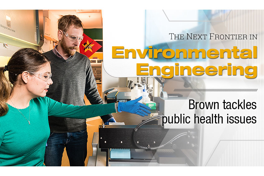 """The next frontier in environmental engineering: Brown tackles public health issues."" Joe Brown and a student test environmental samples in his lab. (Photo: Gary Meek, Design: Sarah Collins)"