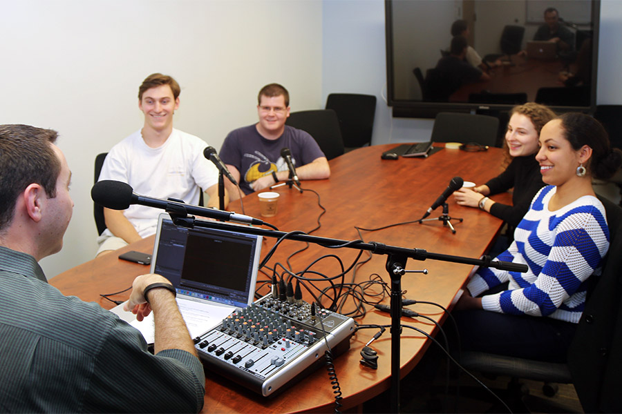 A group of students talks about their experiences as civil and environmental engineering majors at Georgia Tech for the School of Civil and Environmental Engineering's podcast. (Photo: Jess Hunt-Ralston)