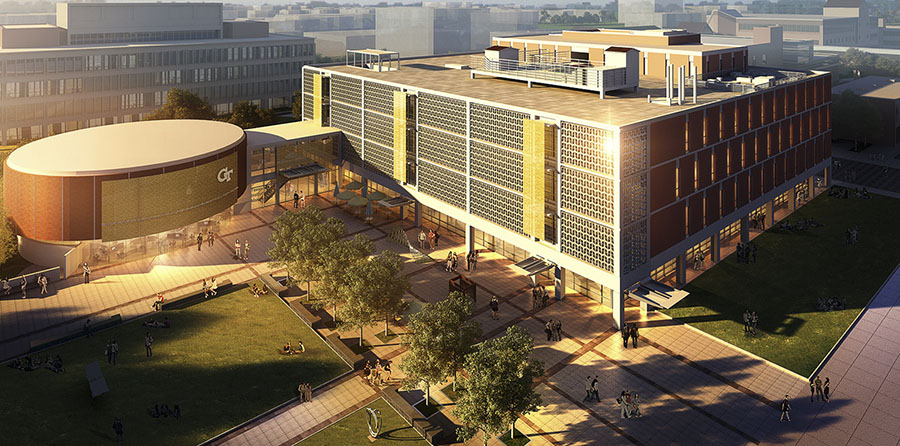 Rendering of the finished Texas Instruments Plaza outside the renovated Van Leer rotunda, which will house a new Interdisciplinary Design Commons.