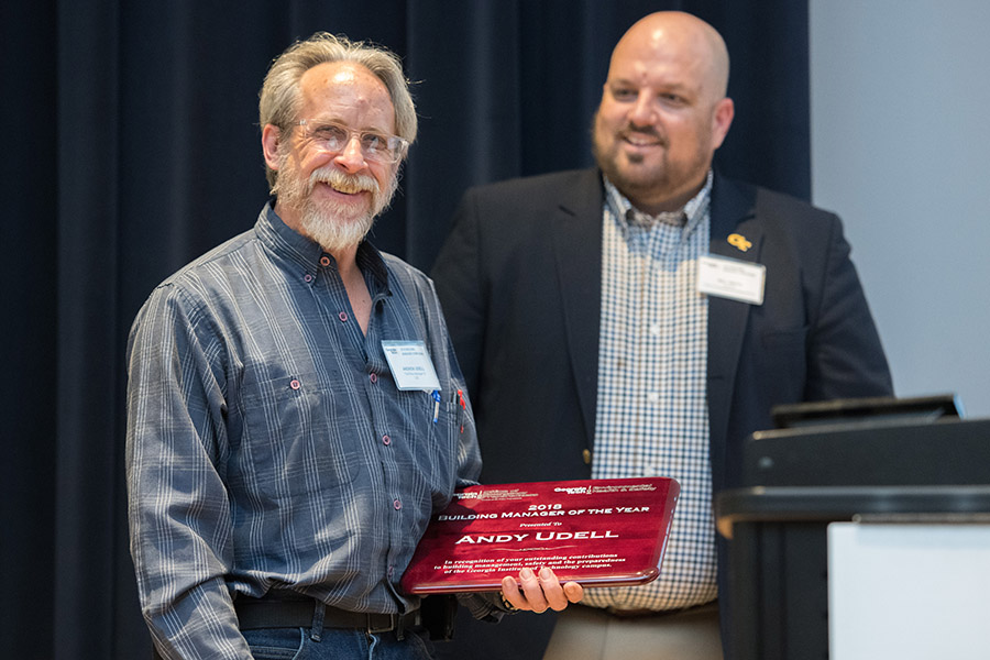 School of Civil and Environmental Engineering Facilities Manager Andy Udell holds a his Building Manager of the Year plaque March 19 at Georgia Tech's Building Manager Symposium. (Photo: Allison Carter)