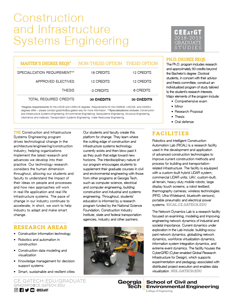 Construction and Infrastructure Systems Engineering grad studies flier thumbnail
