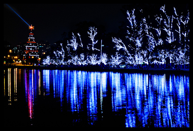Holiday decorations constructed using GTSTRUDL software at the Ibirapuera Park lagoon in Sao Paulo, Brazil.