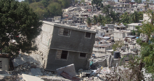 Damage to residential communities in Haiti after the 2010 earthquake.