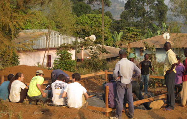 EWB-GT Cameroon project team on site at the water tank in Mungoa-goa.