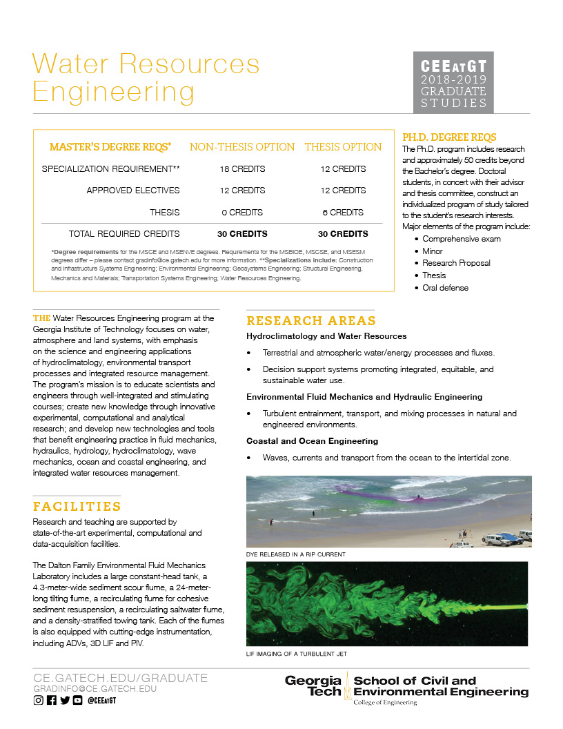 Water Resources Engineering grad studies flier thumbnail