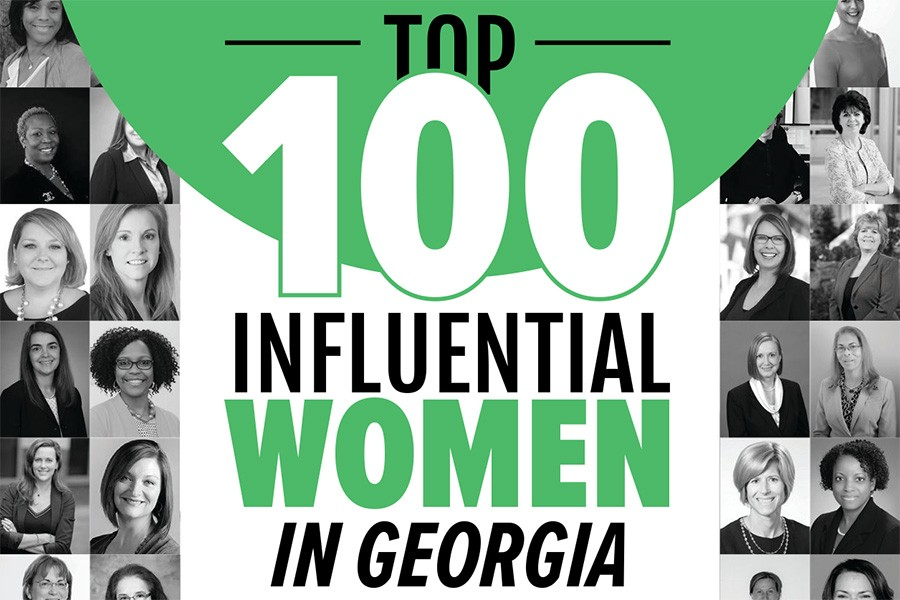 Top 100 Influential Women in Georgia graphic from Engineering Georgia magazine, including headshots of many of the women on the list.