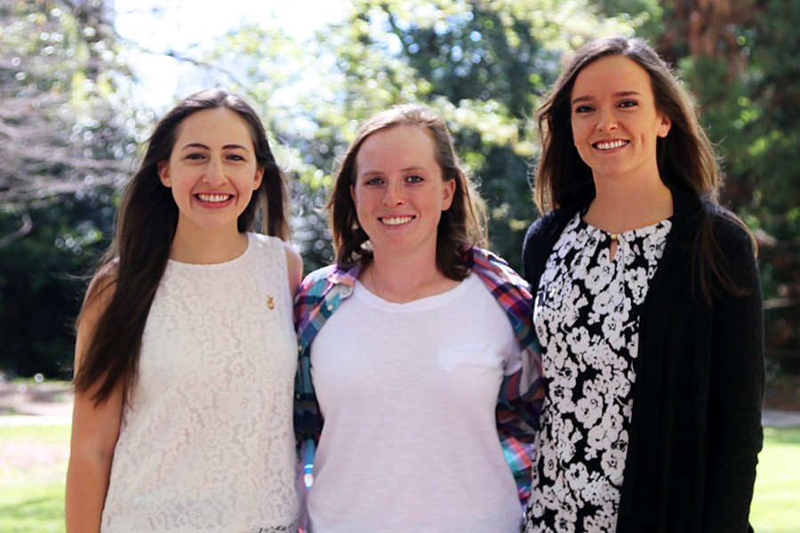 Three School of Civil and Environmental Engineering students have won National Science Foundation graduate fellowships. Hannah Greenwald, left, is a graduating senior. April Gadsby, middle, and Rebecca Nylen are in the early stages of the graduate studies. (Photo: Jess Hunt-Ralston)