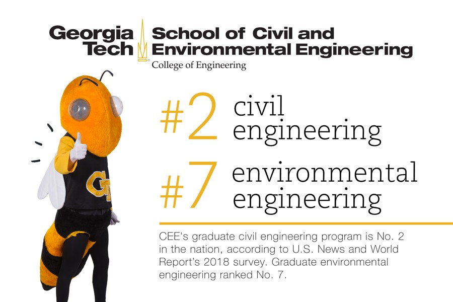 CEE's graduate civil engineering program is No. 2 in the nation, according to U.S. News and World Report's 2018 survey. Graduate environmental engineering ranked No. 7. (Image: Jess Hunt-Ralston)
