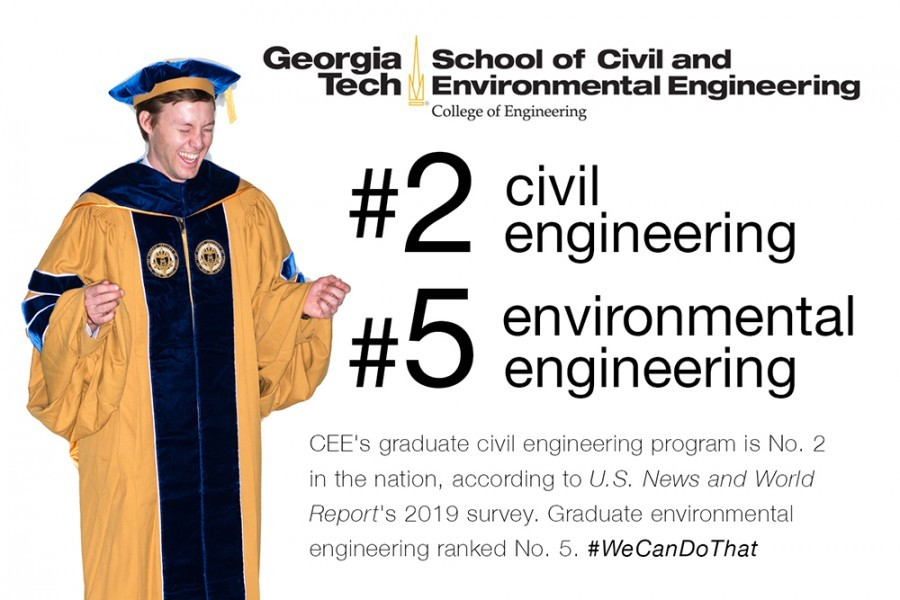CEE's graduate civil engineering program is No. 2 in the nation, according to U.S. News and World Report's 2019 survey. Graduate environmental engineering ranked No. 5. #WeCanDoThat