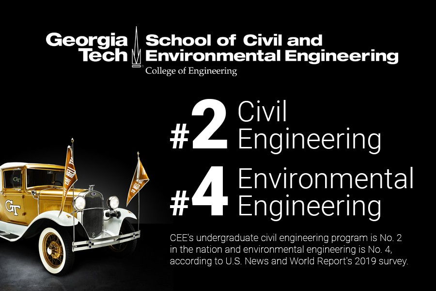 The School of Civil and Environmental Engineering's undergrad civil program is No. 2 in the nation and environmental is No. 4, according to U.S. News and World Report's 2019 survey (graphic includes photo of the Ramblin' Reck).
