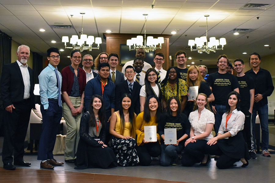 Georgia Tech's American Society of Civil Engineers chapter won second place overall at the 2019 Carolinas Regional Conference, including top finishes in the paper competition as well as the structural tower load efficiency, steel bridge weight, and steel bridge aesthetics categories. (Photo Courtesy: David Scott)