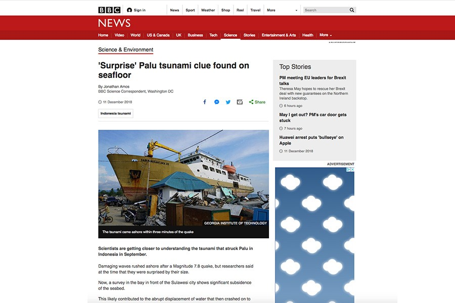Screenshot of BBC News story about new data collected by Hermann Fritz and his colleagues after the tsunami in Indonesia in September.