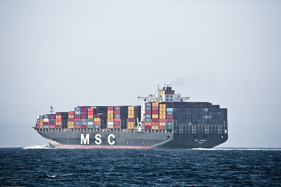 Cargo ship loaded with freight containers at sea with a muted, gray sky. (Photo Courtesy: Mike Baird via Flickr)
