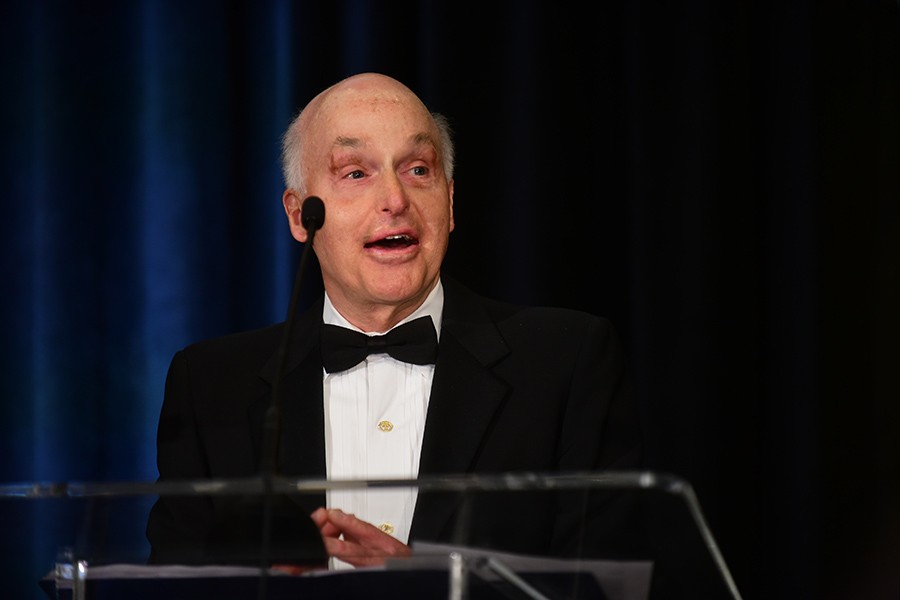 Howard Tellepsen speaks at the College of Engineering Alumni Awards April 16. Tellepsen, BSCE 1966, was inducted into the College's Hall of Fame.