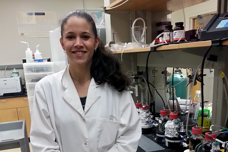 Ph.D. student Christine Dykstra in her lab.