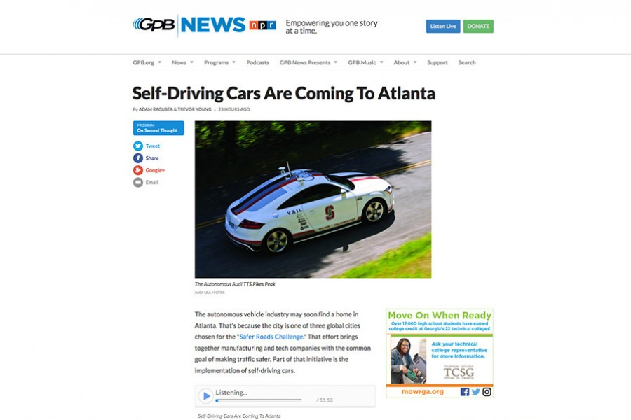 Screenshot of GPB web page featuring the March 16 segment on self-driving cars that included Michael Hunter.