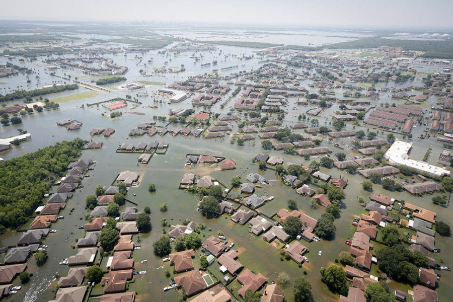 Floodwaters cover Port Arthur, Texas, on August 31, 2017, following Hurricane Harvey. Staff Sgt. Daniel J. Martinez took this photo from a South Carolina Helicopter Aquatic Rescue Team UH-60 Black Hawk helicopter during rescue operations following the storm. (Photo: Staff Sgt. Daniel J. Martinez, U.S. Air National Guard)