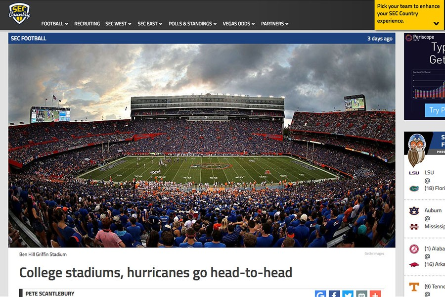 SEC Country website screen shot of a story looking at the effects of major hurricanes on college football stadiums.