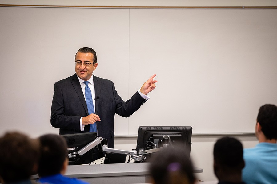 Wassim Selman, a triple alumnus of the School of Civil and Environmental Engineering, delivered the fall 2018 lecture in the Kenneth Hyatt Distinguished Alumni Leadership Speaker Series Oct. 2. Selman focused on the importance of keeping people in the equation — and even presented his own equation for how to do that. (Photo: Qiusen Huang)