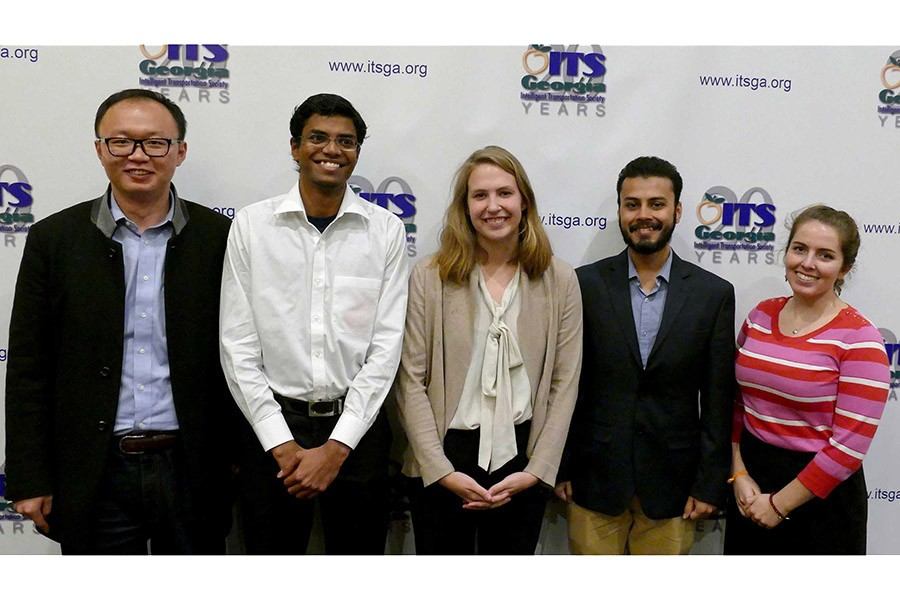 Five School of Civil and Environmental Engineering students have won Wayne Shackelford Scholarships from the Intelligent Transportation Society Georgia chapter. From left, Haobing Liu, Cibi Pranav, Lauren Gardner, Anirban Chatterjee and Zoe Turner-Yovanovitch each had to suggest smart technologies governments could use to improve urban mobility. (Photo Courtesy: ITS Georgia)