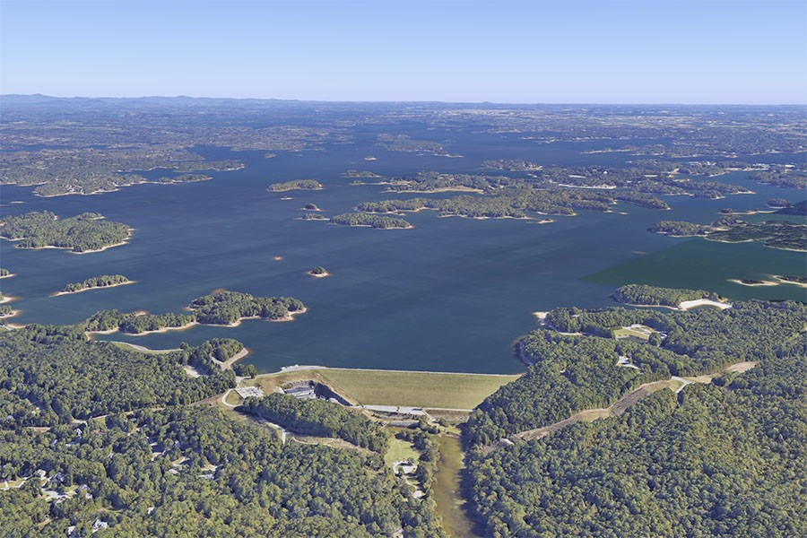 Google Earth view of Lake Lanier from Buford Dam. Gwinnett County is to the right of the dam. (Image Courtesy: Google, Landsat/Copernicus)