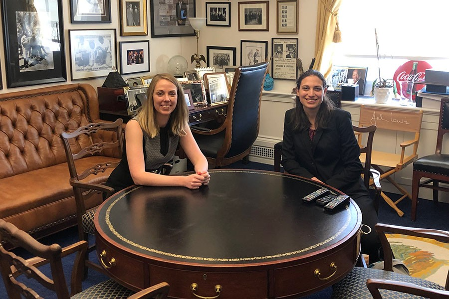 Environmental engineering Ph.D. student Laura Mast, left, and math Ph.D. student Samantha Petti visit Georgia congressman John Lewis' office. They were unable to meet with Lewis, but they did have conversations with staffers from several Georgia representatives' offices during the Catalyzing Advocacy for Scientists and Engineers Workshop, a three-day crash course in federal policymaking and science advocacy. Mast and Petti were the only two students from Georgia Tech who attended. (Photo: Robert Knotts)