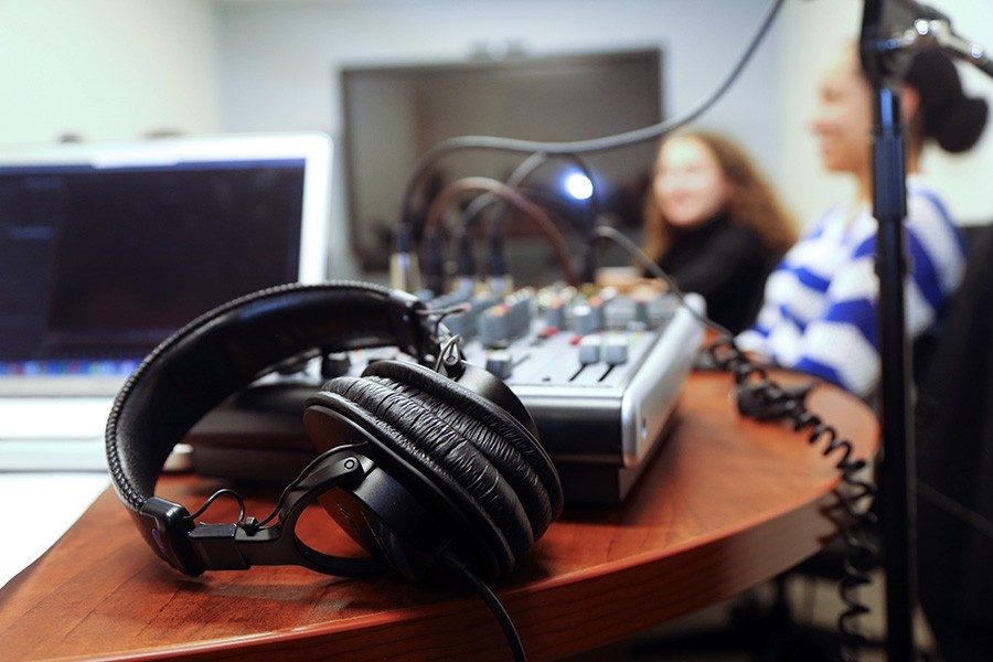 "Headphones and a sound board before a recording for the first edition of the School of Civil and Environmental Engineering's new ""Field Notes"" podcast. (Photo: Jess Hunt-Ralston)"