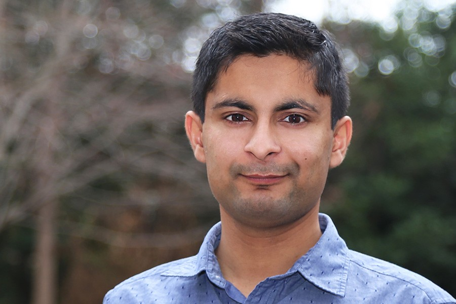 Ph.D. student Ajay Saini, one of the American Society of Civil Engineers' O.H. Ammann Research Fellows in Structural Engineering for this year. (Photo: Jess Hunt-Ralston)
