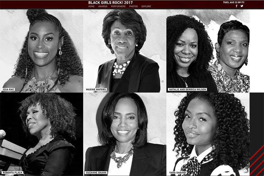 Screenshot of the BET Black Girls Rock! 2017 webpage, featuring alumna Suzanne Shank and other winners, Issa Rae, Maxine Waters, Natalie and Derrica Wilson, Roberta Flack, and Yara Shahidi.
